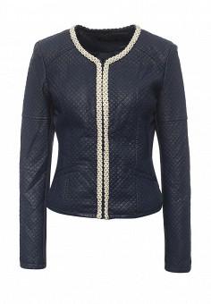Куртка утепленная, S'Ebo, цвет: синий. Артикул: SE032EMQOE26. Женская одежда / Верхняя одежда / Кожаные куртки