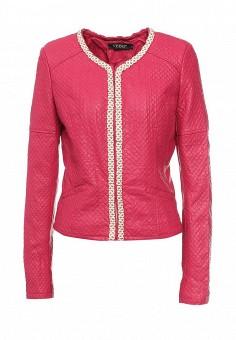 Куртка кожаная, S'Ebo, цвет: фуксия. Артикул: SE032EMQOE27. Женская одежда / Верхняя одежда / Кожаные куртки