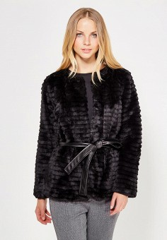 Шуба, Silvian Heach, цвет: черный. Артикул: SI386EWVIH87. Женская одежда / Верхняя одежда / Шубы и дубленки