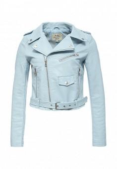 Куртка кожаная, Softy, цвет: голубой. Артикул: SO017EWROZ50. Женская одежда / Верхняя одежда / Кожаные куртки