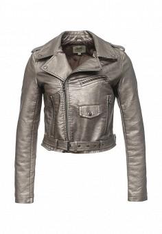 Куртка кожаная, Softy, цвет: серебряный. Артикул: SO017EWROZ53. Женская одежда / Верхняя одежда / Косухи