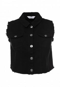 Жилет джинсовый, Studio Untold, цвет: черный. Артикул: ST038EWPRN48. Женская одежда / Верхняя одежда / Жилеты