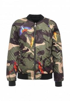 Куртка утепленная, Time For Future, цвет: хаки, черный. Артикул: TI016EWRJE40. Женская одежда / Верхняя одежда / Демисезонные куртки