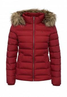 Пуховик, Tommy Hilfiger Denim, цвет: бордовый. Артикул: TO013EWKBT75. Женская одежда