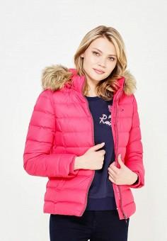 Пуховик, Tommy Hilfiger Denim, цвет: розовый. Артикул: TO013EWTPB36. Женская одежда / Верхняя одежда / Пуховики и зимние куртки