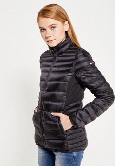 Пуховик, Tommy Hilfiger Denim, цвет: черный. Артикул: TO013EWTPB43. Женская одежда / Верхняя одежда / Пуховики и зимние куртки