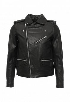 Куртка кожаная, Topman, цвет: черный. Артикул: TO029EMIRA06. Мужская одежда / Верхняя одежда / Кожаные куртки