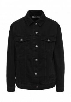 Куртка джинсовая, Topshop, цвет: черный. Артикул: TO029EWPEP87. Женская одежда / Верхняя одежда / Джинсовые куртки