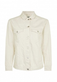 Куртка джинсовая, Topshop, цвет: белый. Артикул: TO029EWRMD14. Женская одежда / Тренды сезона / Летний деним / Джинсовые куртки
