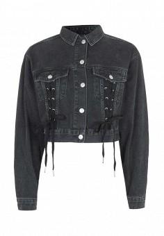 Куртка джинсовая, Topshop, цвет: серый. Артикул: TO029EWRMD15. Женская одежда / Верхняя одежда / Джинсовые куртки
