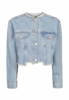Куртка джинсовая, Topshop, цвет: голубой. Артикул: TO029EWSIO80. Женская одежда / Тренды сезона / Летний деним / Джинсовые куртки