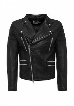 Куртка кожаная, Topman, цвет: черный. Артикул: TO030EMKDM33. Мужская одежда / Верхняя одежда / Кожаные куртки