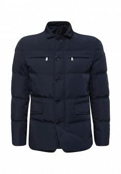 Пуховик, Trussardi Jeans, цвет: синий. Артикул: TR016EMUWE31. Мужская одежда / Верхняя одежда / Пуховики и зимние куртки