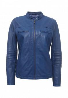 Куртка кожаная, United Colors of Benetton, цвет: синий. Артикул: UN012EWPIG71. Женская одежда / Верхняя одежда / Кожаные куртки