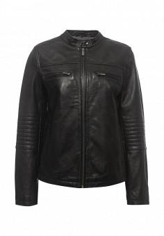 Куртка кожаная, United Colors of Benetton, цвет: черный. Артикул: UN012EWPIG72. Женская одежда / Верхняя одежда / Кожаные куртки