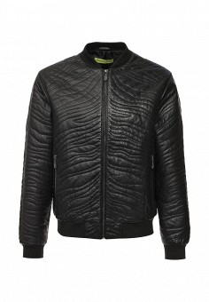 Куртка кожаная, Versace Jeans, цвет: черный. Артикул: VE006EMJWL16. Мужская одежда / Верхняя одежда / Кожаные куртки