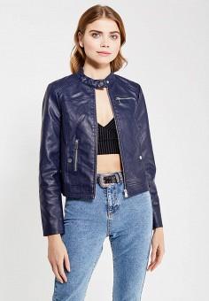 Куртка кожаная, Vero Moda, цвет: синий. Артикул: VE389EWUJY28. Женская одежда / Верхняя одежда / Кожаные куртки