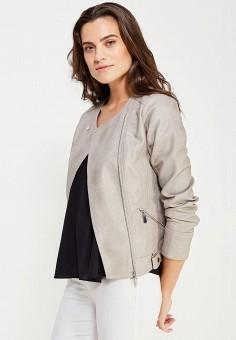 Куртка кожаная, Wallis, цвет: серый. Артикул: WA007EWTQQ14. Женская одежда / Верхняя одежда / Косухи