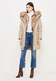 Пуховик, Woolrich, цвет: бежевый. Артикул: WO256EWUPH66. Женская одежда / Верхняя одежда / Пуховики и зимние куртки