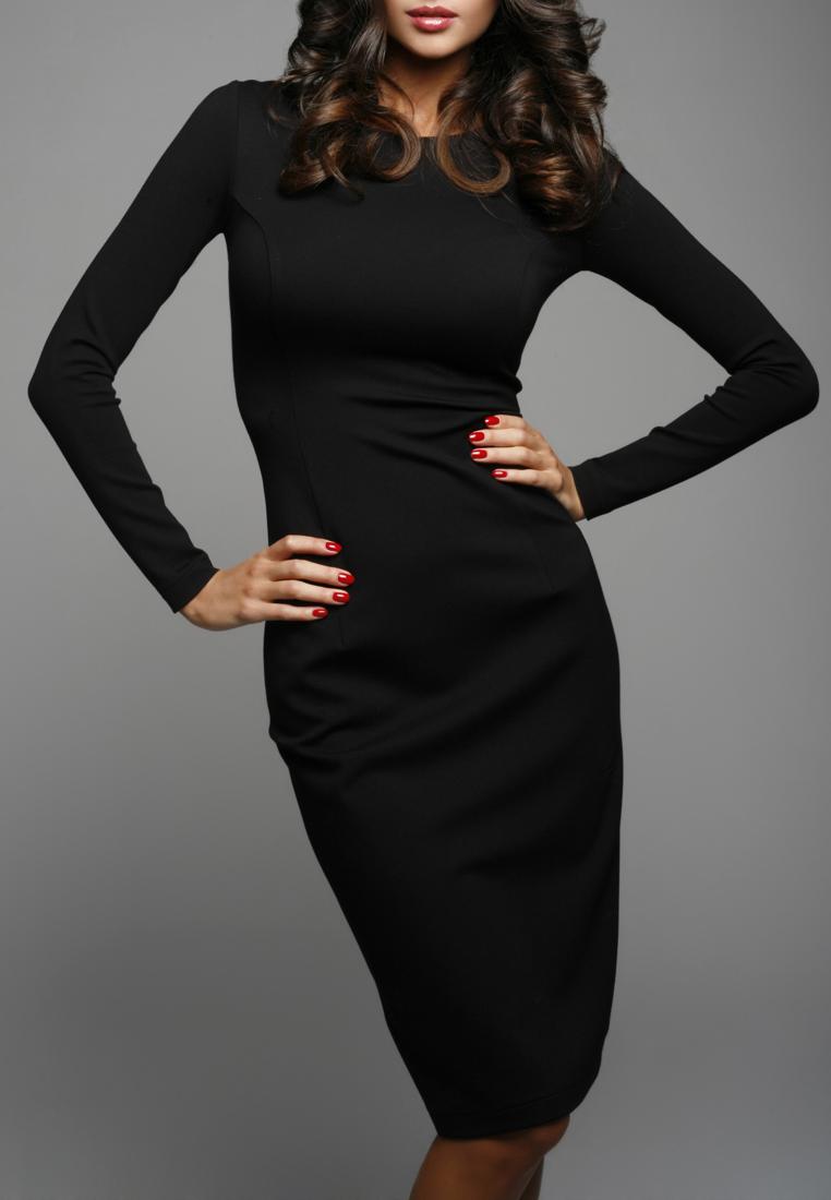Черное платье с рукавом и кружевом