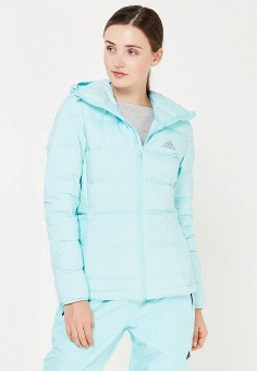 Пуховик, adidas Performance, цвет: бирюзовый. Артикул: AD094EWUOG61. Женская одежда / Верхняя одежда / Пуховики и зимние куртки