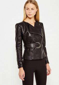 Куртка кожаная, Elisabetta Franchi, цвет: черный. Артикул: EL037EWUCW35. Премиум / Одежда / Верхняя одежда