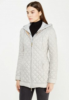 Пуховик, Patrizia Pepe, цвет: бежевый, серый. Артикул: PA748EWTUR60. Женская одежда / Верхняя одежда / Пуховики и зимние куртки