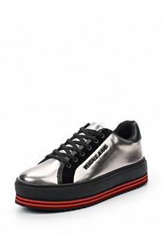 Кеды, Versace Jeans, цвет: серебряный. Артикул: VE006AWUBI45. Премиум / Обувь / Кроссовки и кеды
